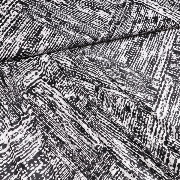 Viskosejersey mit Ethno-Muster - weiss/schwarz
