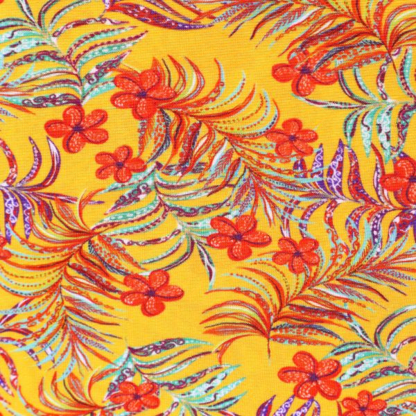 Viskose Slinky-Jersey Blumen - gelb/lachs/türkis/blau