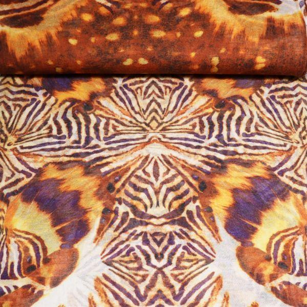 Feinstrick gemustert - wollweiss/terrakotta/gelb/orange/rehbraun/lila