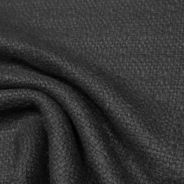 Wollstoff-Mix gemustert uni - schwarz
