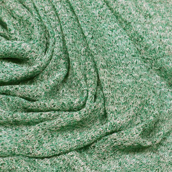 Feinstrick Melange - grün/weiss