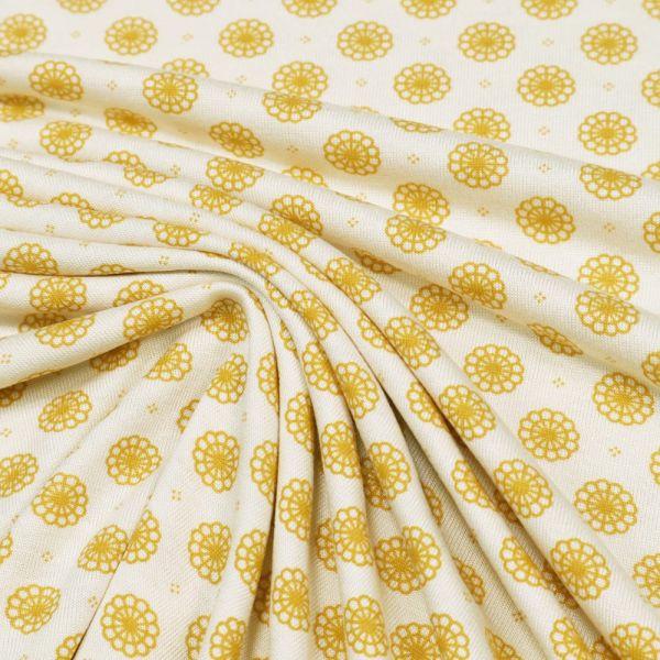 Viskosejersey Mandala Blumen - creme/senfgelb