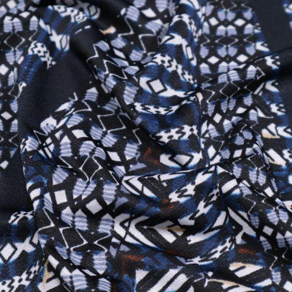 Crepé Jersey mit Retro-Motiv - nachtblau/dunkelblau/schwarz/beige/weiss