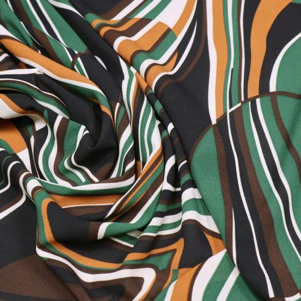 Stretch Crêpe Chiffon Retro Style - wollweiss/terrakotta/dunkelgrün/schwarz