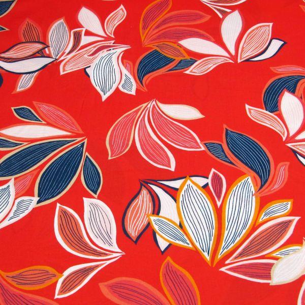 Baumwollstoff bunte Blätter - rot/beige/marineblau/weiss/orange Öko-Tex Standard 100