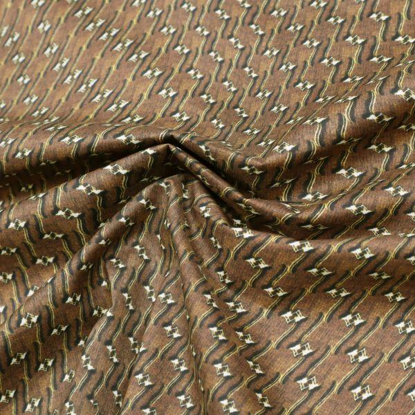 Stretch Baumwollstoff Futuristisches Muster - braun/gelb/schwarz/wollweiss