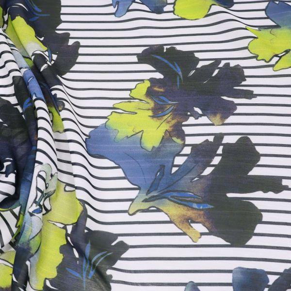 Voile Streifen & Blätter - weiss/blau/marineblau/gelb
