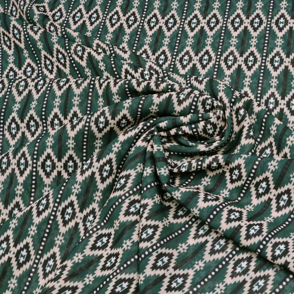 Chiffon mit Retro Muster - dunkelgrün/beige/weiss/schwarz