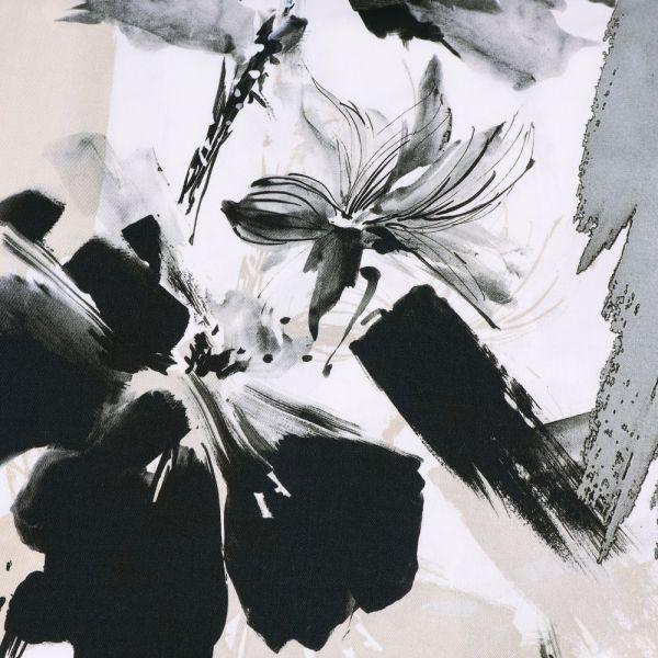 Viskosestoff mit grossem Blumen-Motiv PANEL - wollweiss/beige/grau/anthrazit/schwarz