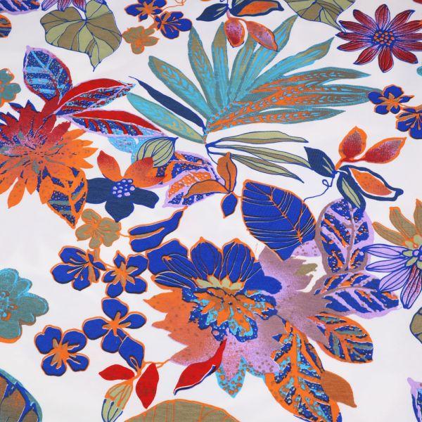 Stretch Sweatshirt Stoff Exotische Blumen - wollweiss/multicolor Extra breit !! (2.Wahl)