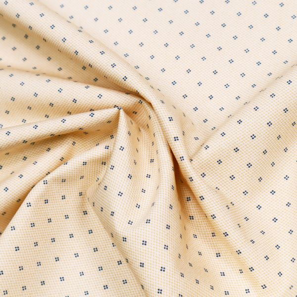 Baumwoll- Popeline kleines Muster - weiss/apricot/marineblau