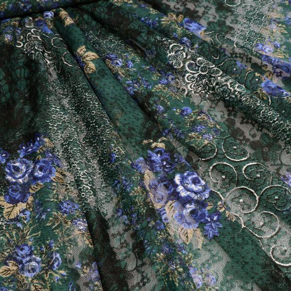 Stretch Tüll-Spitze mit Rosen-Motiv - dunkelgrün/royalblau/schwarz/weiss