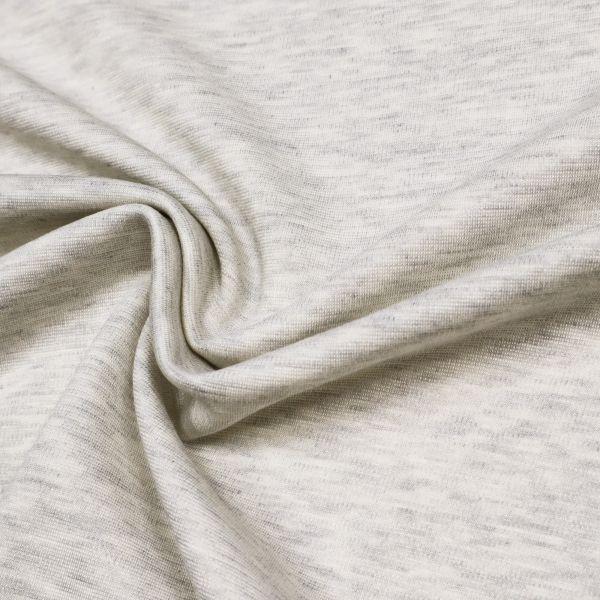Power-Stretch Jersey Melange - wollweiss/grau