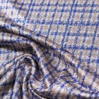 Viskose- Stretch Feinstrick Karo - weiss/taupe/blau