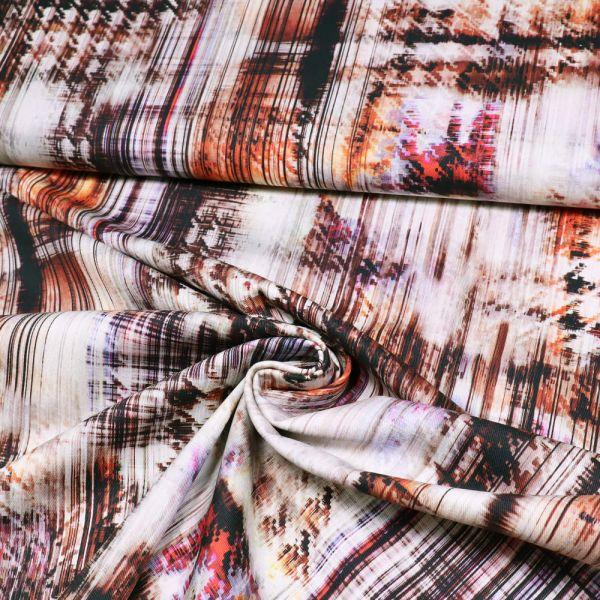 Stretch Baumwoll- Twill Abstrakte Art - braun/orange/rot/schwarz/wollweiss