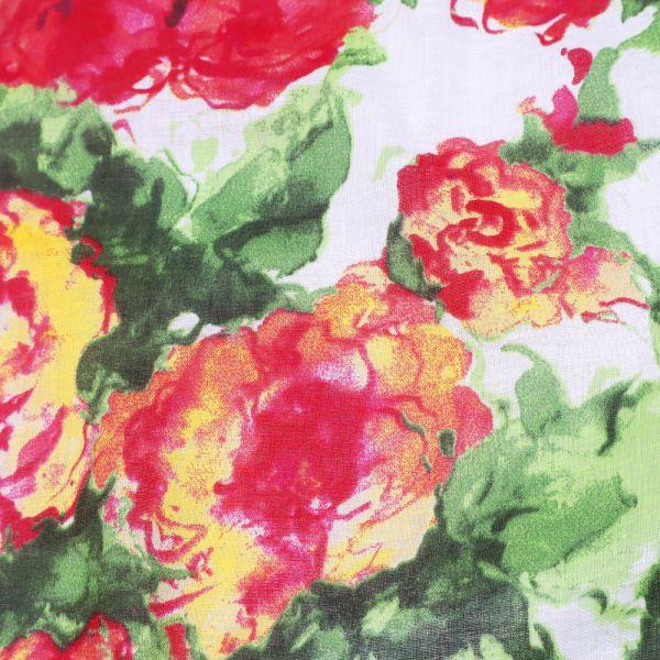 Baumwoll-Voilé mit Blumen-Motiv - wollweiss/himbeere/grün/gelb