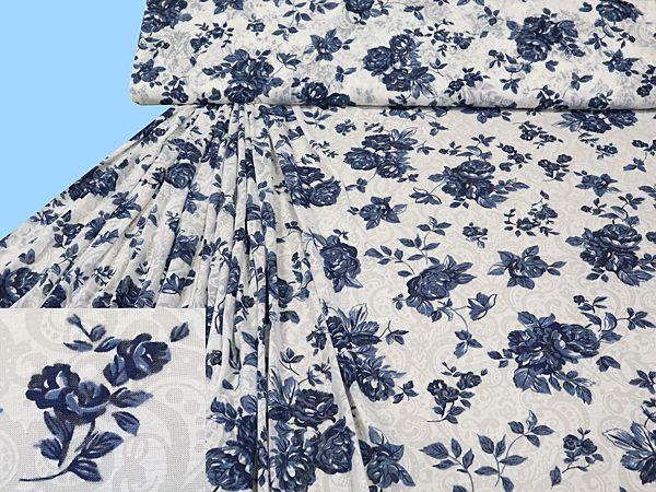 Feinjersey- Ausbrenner mit Blumen-Motiv - wollweiss/marineblau