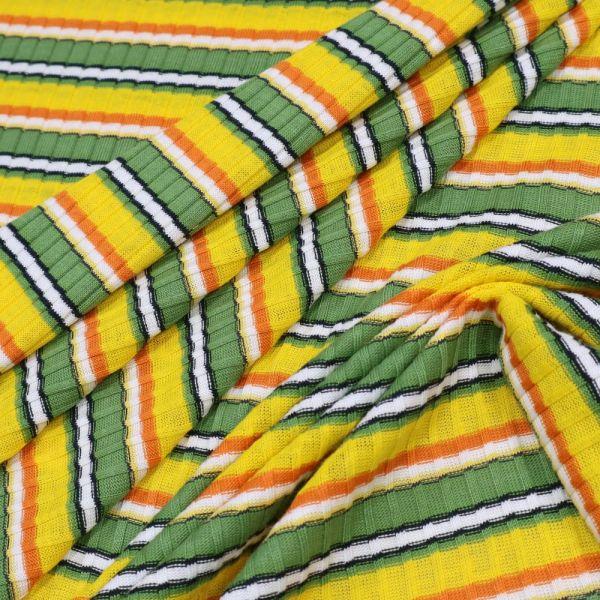 Baumwoll- Rippenstrick mit Querstreifen - gelb/grün/orange/wollweiss/schwarz