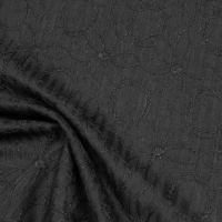 Baumwoll- Popeline mit Streifen & Blumen-Stickerei - schwarz