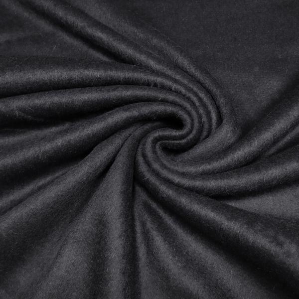 Mantelvelour mit Kurzhaar uni - schwarz (Reststück - 3,0m)