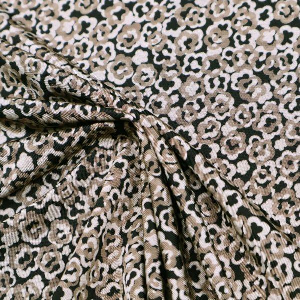 Viskose Slinky-Jersey Blümchen - beige/taupe/schwarz
