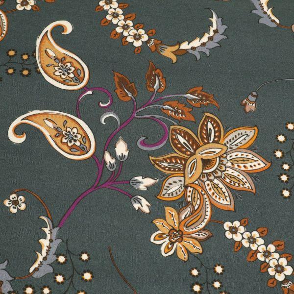 Viskose Twill Paisley & Blumen - anthrazit/hellbraun/braun/terrakotta/violett