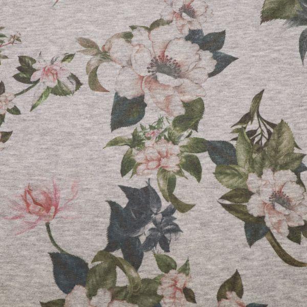 Stretch Sweatshirt Stoff Blumen & Melange - grau/rosé/altrosa/petrol (2.Wahl)