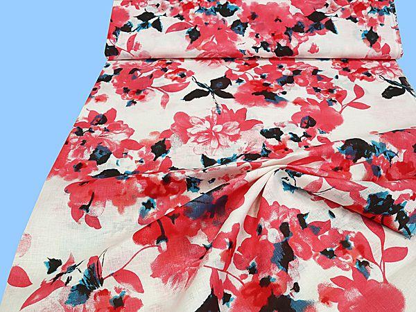Leinenstoff mit Blumen-Motiv - wollweiss/himbeere/rot (Reststück 3,2m)