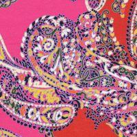 Baumwolljersey Mosaik-Paisley - fuchsia/rot/orange/gelb/kiwi