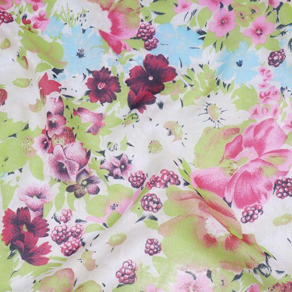 Baumwoll- Voilé Blumen & Beeren - wollweiss/rosé/fuchsia/hellblau/hellgrün