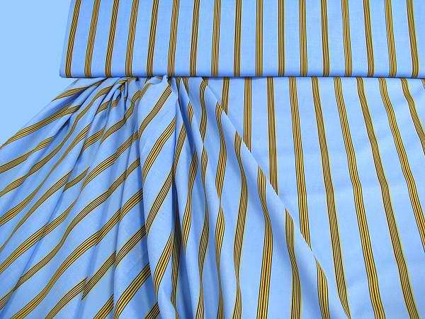 Baumwoll-Voilè gestreift - hellblau/gelb