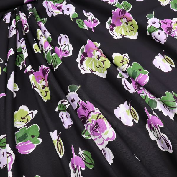 Baumwoll- Popeline mit Blumen - schwarz/violett/flieder/kiwi/dunkelgrün/weiss