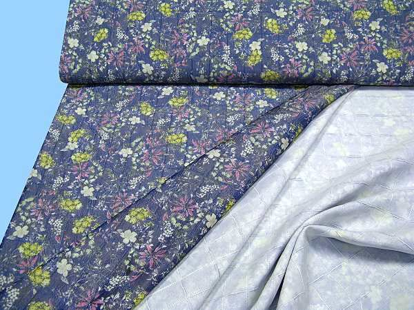 Taft Doppelgewebe - blau/wollweiss/fuchsia/gelb/grün/anthrazit