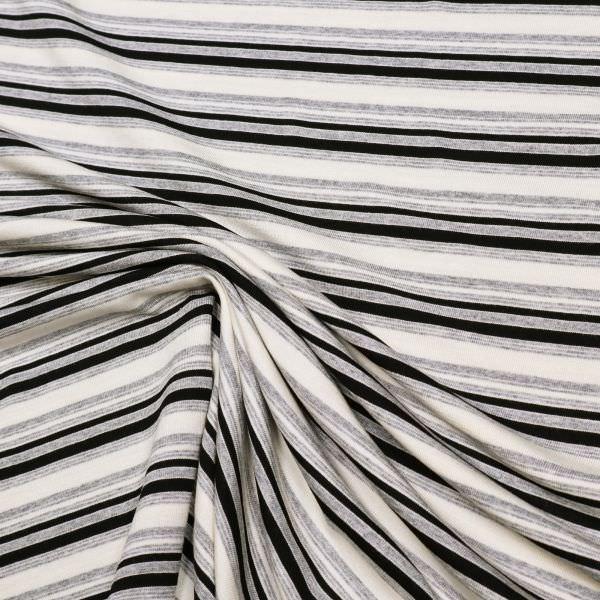 Viskosejersey Querstreifen - wollweiss/grau/schwarz