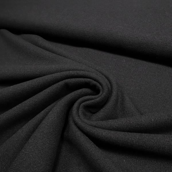 Wollstoff-Mix mit Struktur uni - schwarz