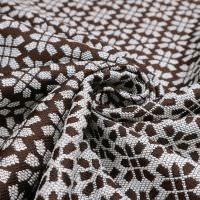 Jacquard Stoff mit Lurex & Muster - braun/wollweiss/silber