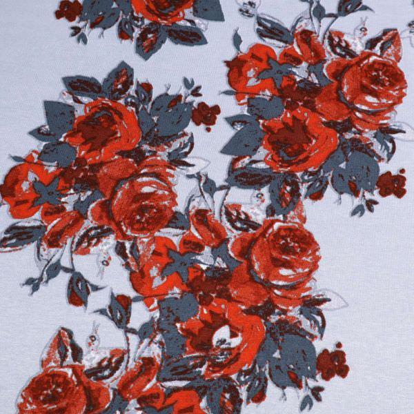Viskosejersey rote Rosen - taubenblau/grau/rot/weinrot