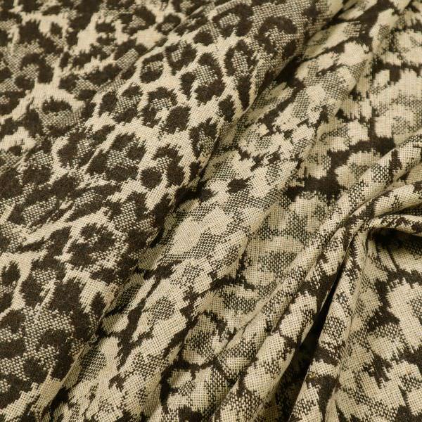 Jacken- und Mantelstoff mit Leoparden-Motiv - beige/braun