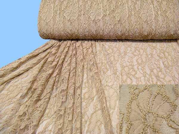 Stretch Tüll-Spitze mit Blumen-Motiv uni - beige