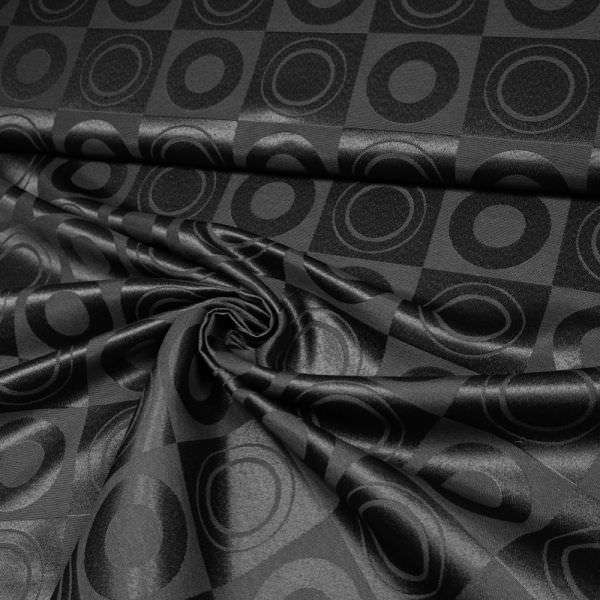 Jacquard-Stoff Ecken & Kreise uni - schwarz