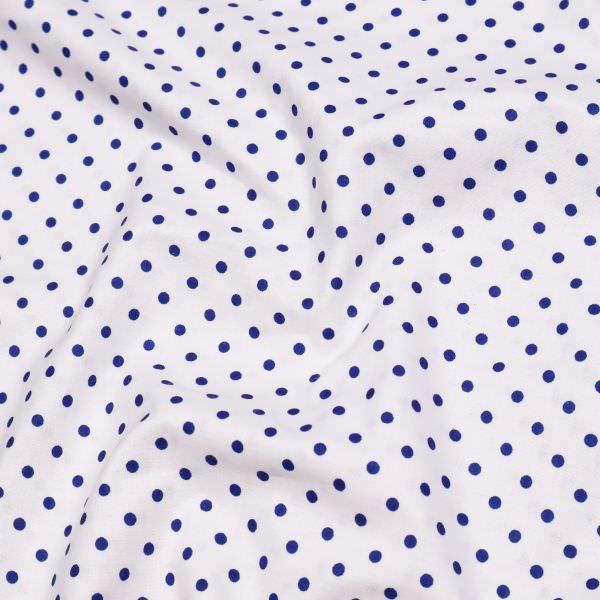 Baumwollstoff kleine Punkte - weiss/marineblau Öko-Tex Standard 100