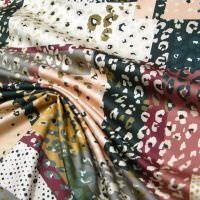 Digitaldruck Baumwoll- Stretch Satin Leopardenmuster - beige/bordeaux/grau/petrol/altrosa