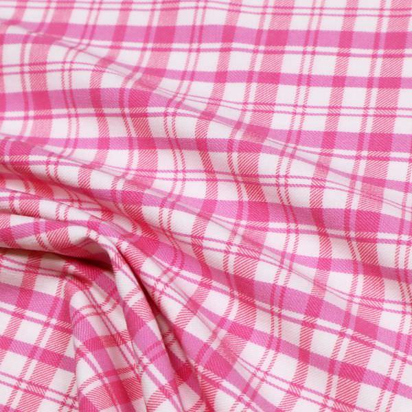 Stretch Baumwollstoff Karo - pink/weiss