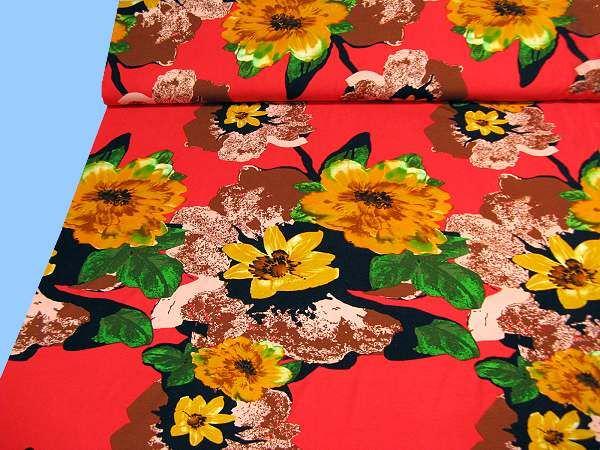 Viskosejersey mit Blumen-Motiv - rot/gelb/rosé/grün/schwarz/weiss (2.Wahl)