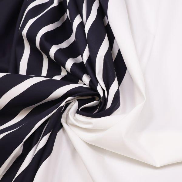 Baumwollstoff Streifen-Farbverlauf - nachtblau/wollweiss