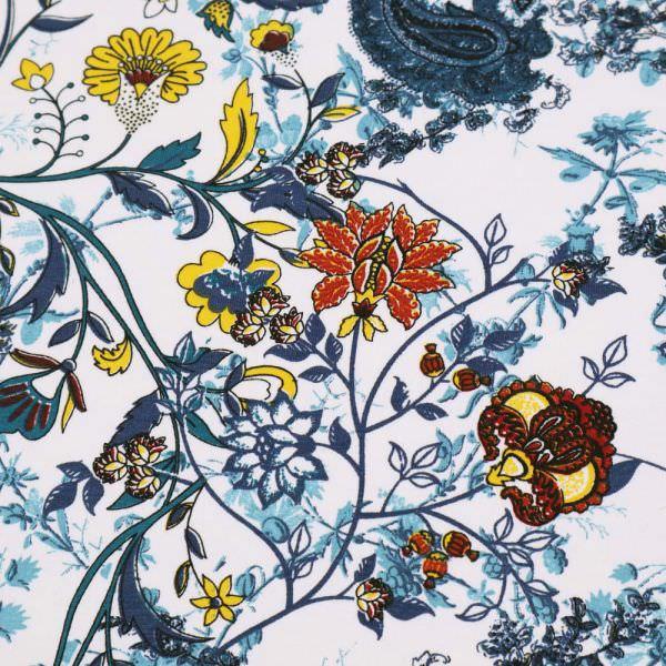 Stretch Sweatshirt Stoff Paisley & Blumen-Motiv - weiss/marineblau/petrol/gelb/rost Extra breit !!