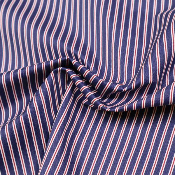 Baumwolle-Polyester Mix Streifen - marineblau/weiss/terrakotta