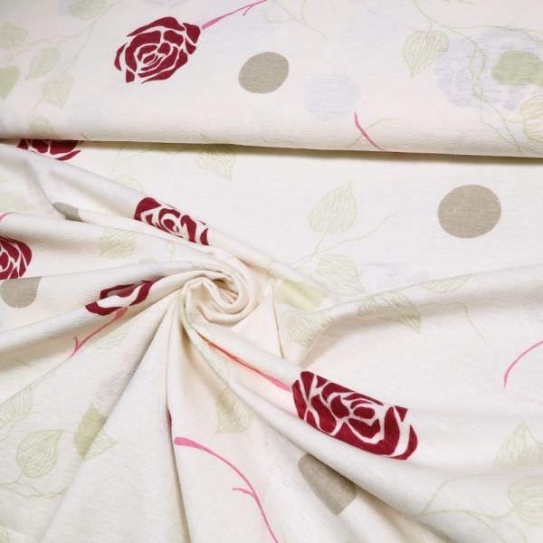 Baumwoll- Flanell Rosen - wollweiss/dunkelrot/pink/beige/hellgrün