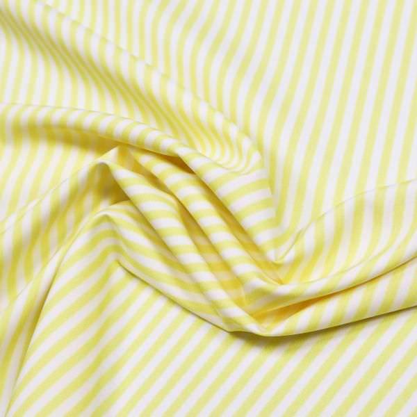 Blusen- und Kleiderstoff Streifen - weiss/gelb