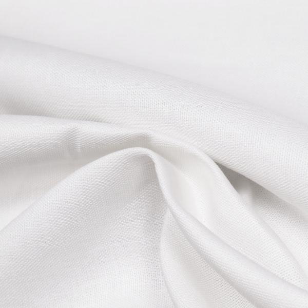 Leinen-Baumwolle Mix grob gewebt uni - weiss